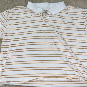 yellow and white collared shirt